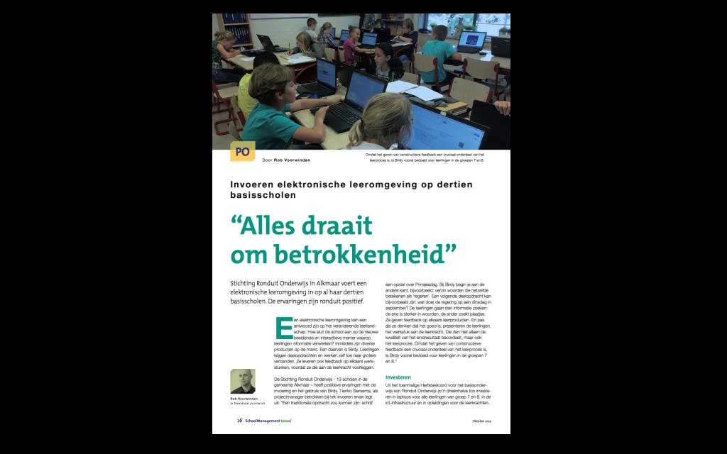 Invoering Birdy bij 13 basisscholen RONDUIT Alkmaar